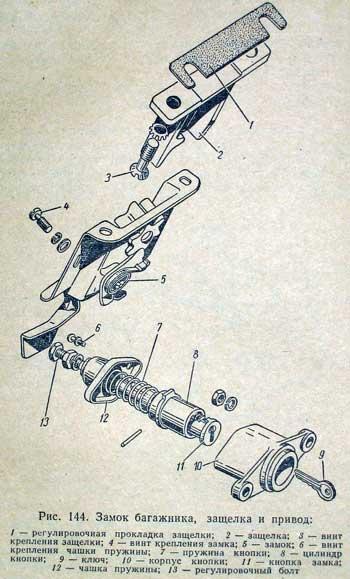 Схема замка багажника газ 3110